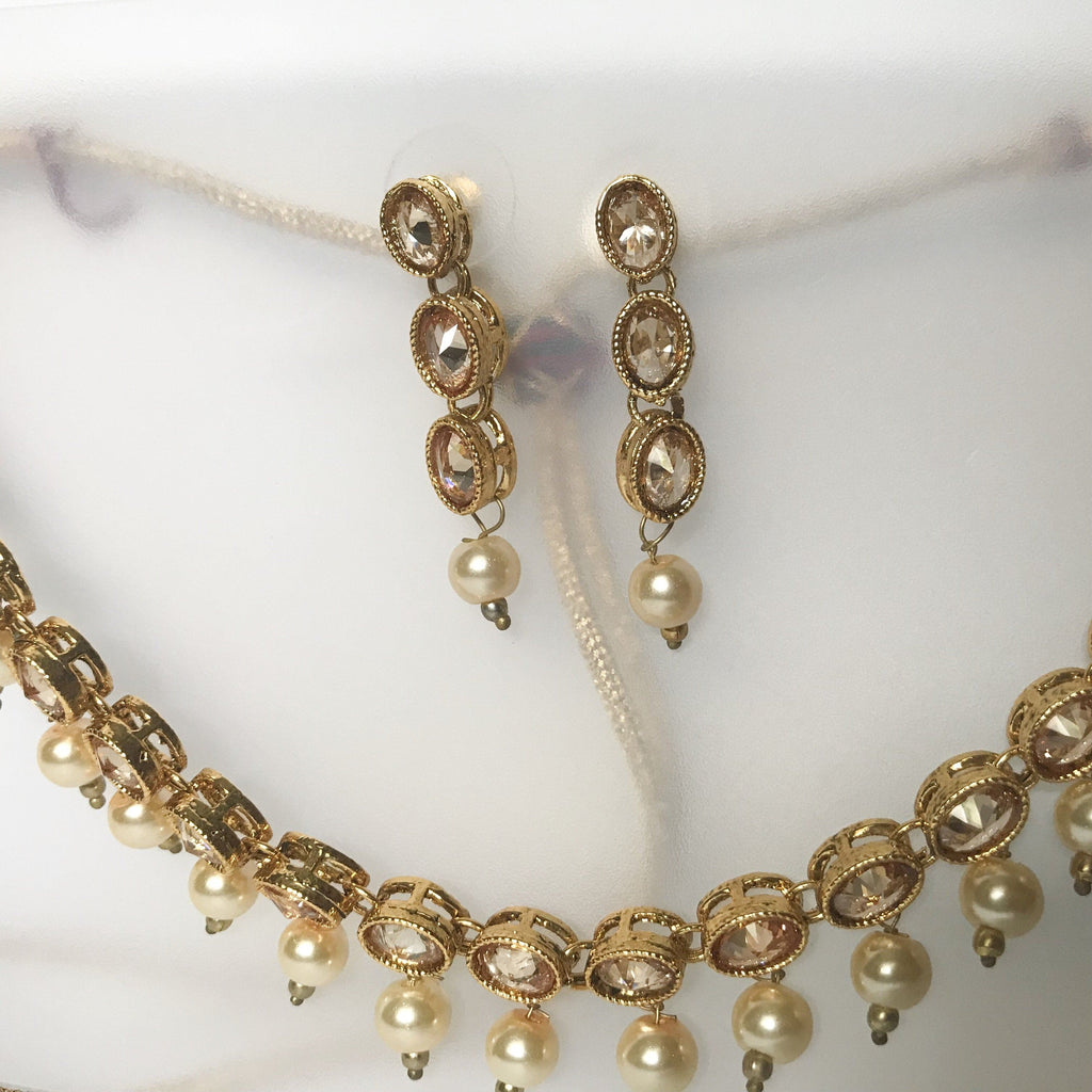 Oval and Pearls, Necklace Sets - THE KUNDAN SHOP