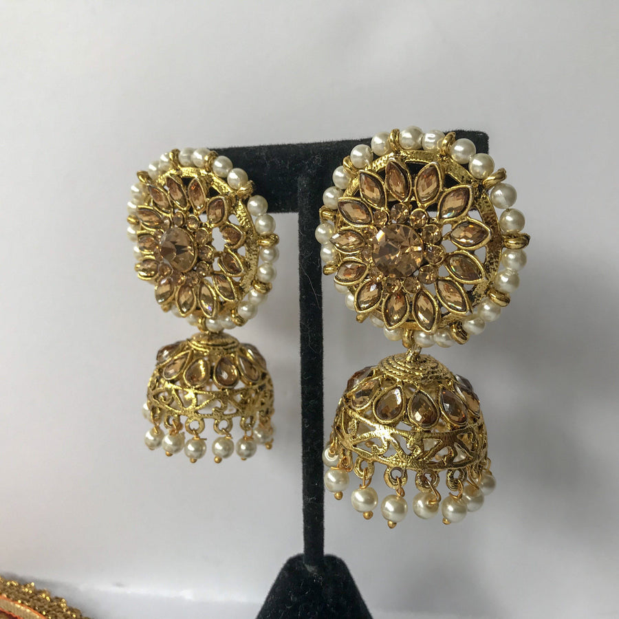 Champagne Round Top Jumka, Earrings + Tikka - THE KUNDAN SHOP
