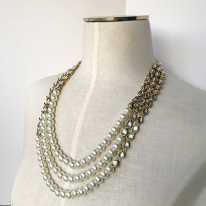 Classic Kundan & Pearl Necklace Set, Necklace Sets - THE KUNDAN SHOP