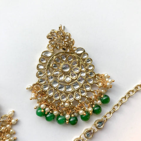 Dazzlin' Set - Dark Green, Earrings + Tikka - THE KUNDAN SHOP