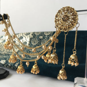 Sunflower Shaped Chandelier Sahara Earrings with Pearls, Sahara Earrings - THE KUNDAN SHOP