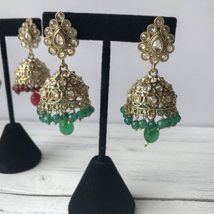 Polki Jumkis -  Various Colours, Earrings + Tikka - THE KUNDAN SHOP