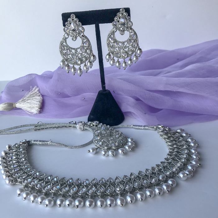 Light Ice Silver Set, Necklace Sets - THE KUNDAN SHOP