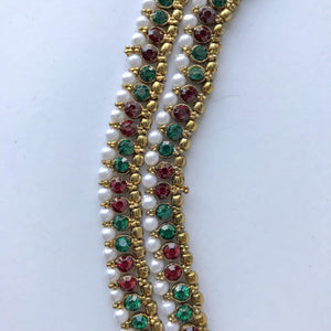 Red & Green Anklets, Anklets - THE KUNDAN SHOP