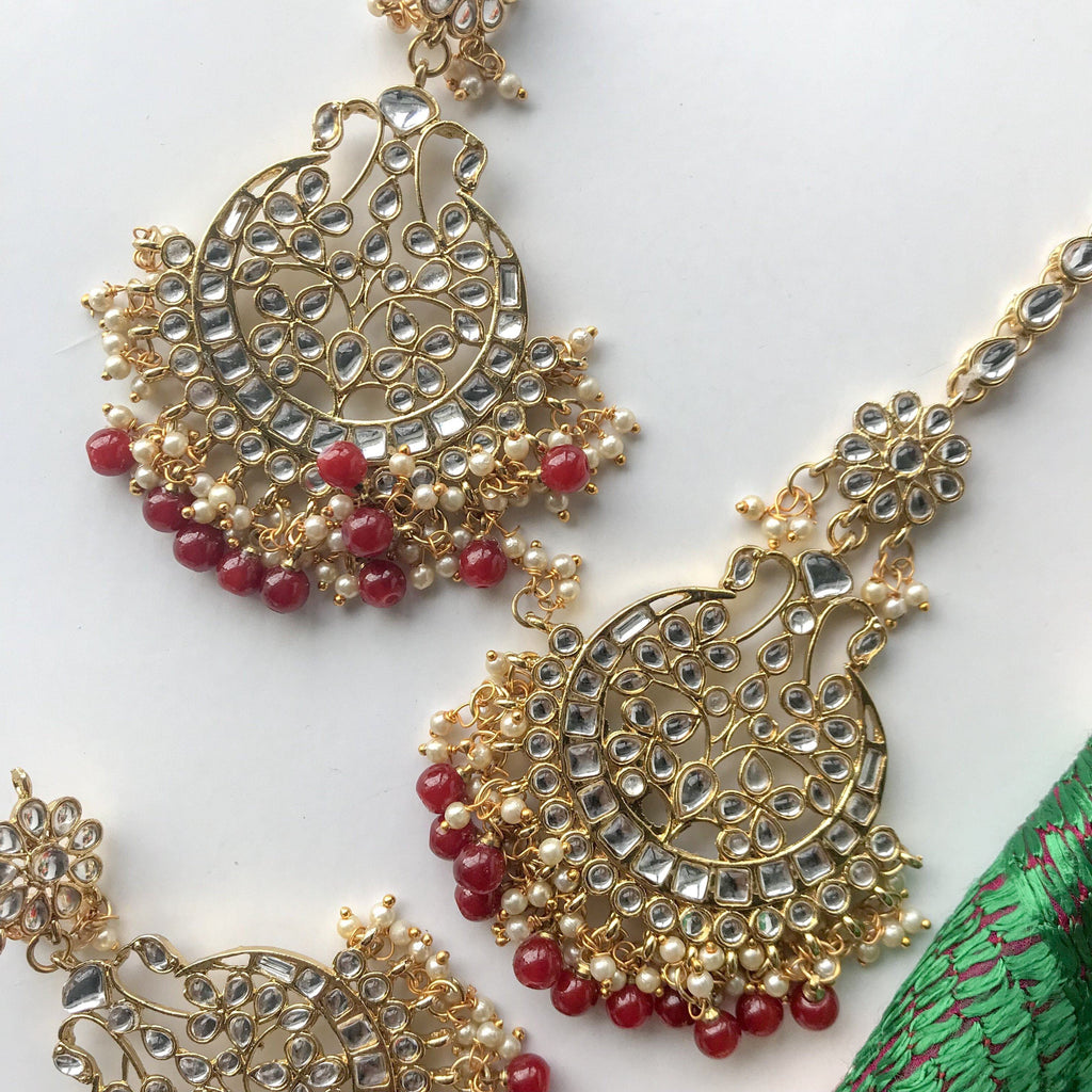 Talk of the Town - Ruby, Earrings + Tikka - THE KUNDAN SHOP