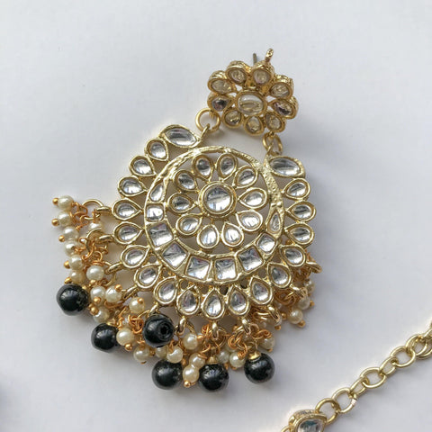 Dazzlin' Set - Black, Earrings + Tikka - THE KUNDAN SHOP