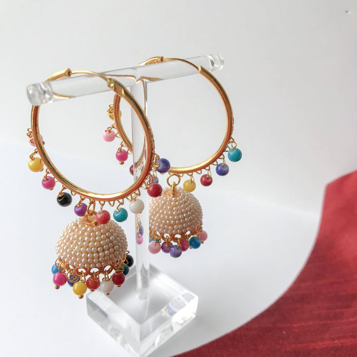 Multi Coloured Pearl Jumki Baali, Baalis - THE KUNDAN SHOP
