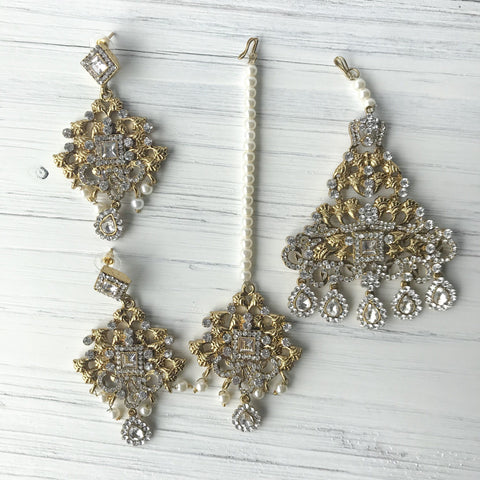 Antique Metal Set, Earrings + Tikka - THE KUNDAN SHOP