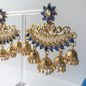 Oversized Multi Jumki Earrings - Various Colours, Earrings + Tikka - THE KUNDAN SHOP