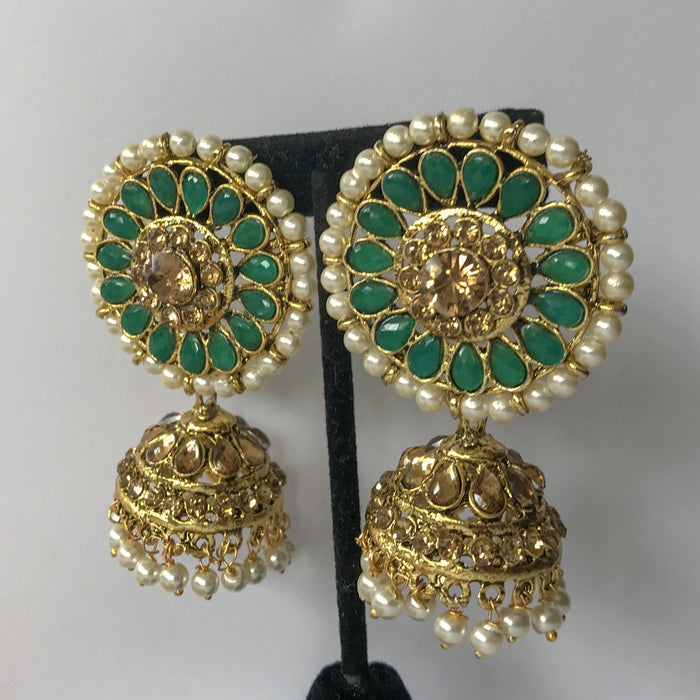 Green Round Top Jumka, Earrings + Tikka - THE KUNDAN SHOP