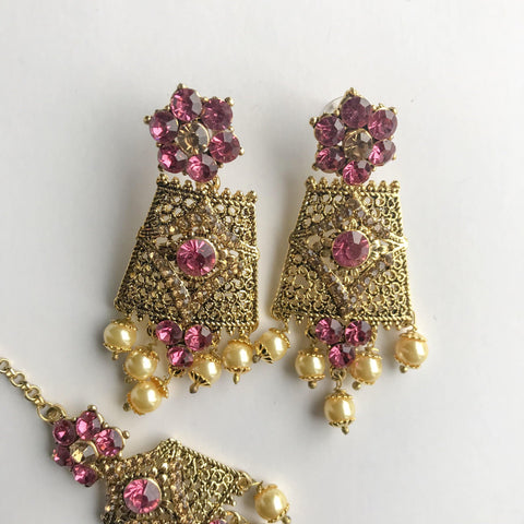 Antique 2.0 - Pink, Necklace Sets - THE KUNDAN SHOP