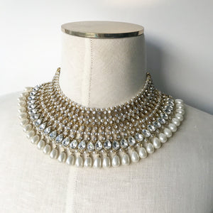Multi Layer White Beads, Necklace Sets - THE KUNDAN SHOP