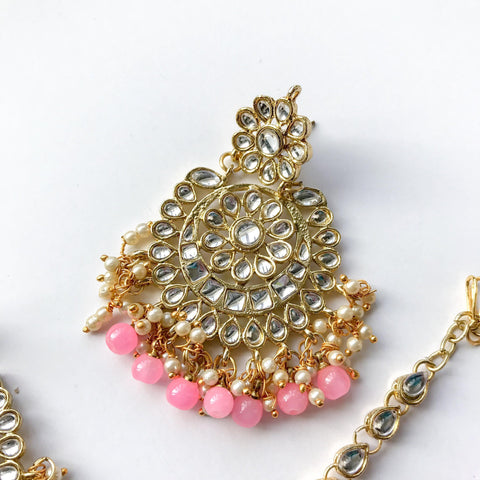 Dazzlin' Set - Bubblegum Pink, Earrings + Tikka - THE KUNDAN SHOP