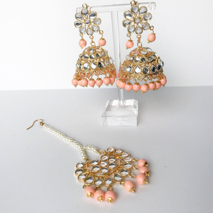 Summers End Jumki Set, Earrings + Tikka - THE KUNDAN SHOP