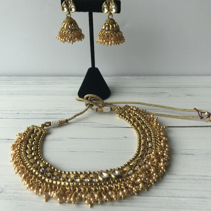 Gold Fringe Necklace With Earrings, Necklace Sets - THE KUNDAN SHOP