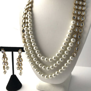 Classic Kundan & Pearl Necklace Set Necklace Sets THE KUNDAN SHOP Necklace Set