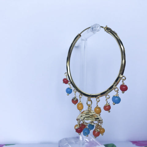 Blue Orange Tone Jumki Baali, Baalis - THE KUNDAN SHOP