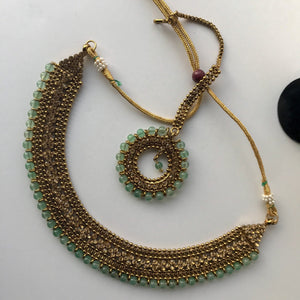 Bring Home the Gold - Moss Green Set, Necklace Sets - THE KUNDAN SHOP
