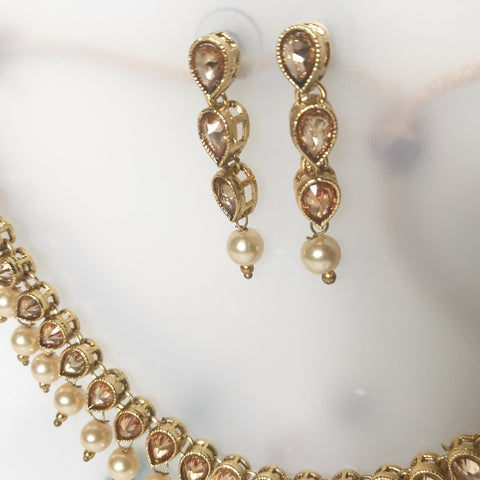 Horizontal Raindrop Polki, Necklace Sets - THE KUNDAN SHOP