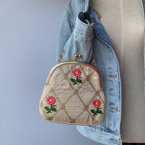 Roses & Quilt Potli, Clutch - THE KUNDAN SHOP