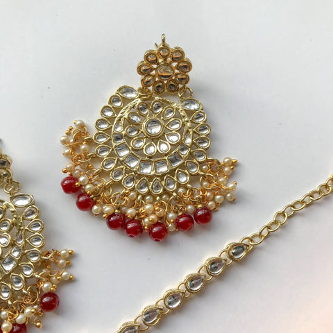 Dazzlin' Set - Ruby, Earrings + Tikka - THE KUNDAN SHOP