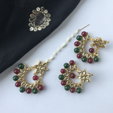 Ruby & Green Choker Set, Necklace Sets - THE KUNDAN SHOP