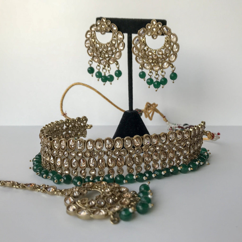 Evening Greens, Necklace Sets - THE KUNDAN SHOP