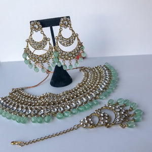 Multi Layer Mint Green Stones, Necklace Sets - THE KUNDAN SHOP