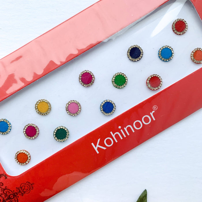 14 PC Gold Rhinestone Bindi, Bindis - THE KUNDAN SHOP