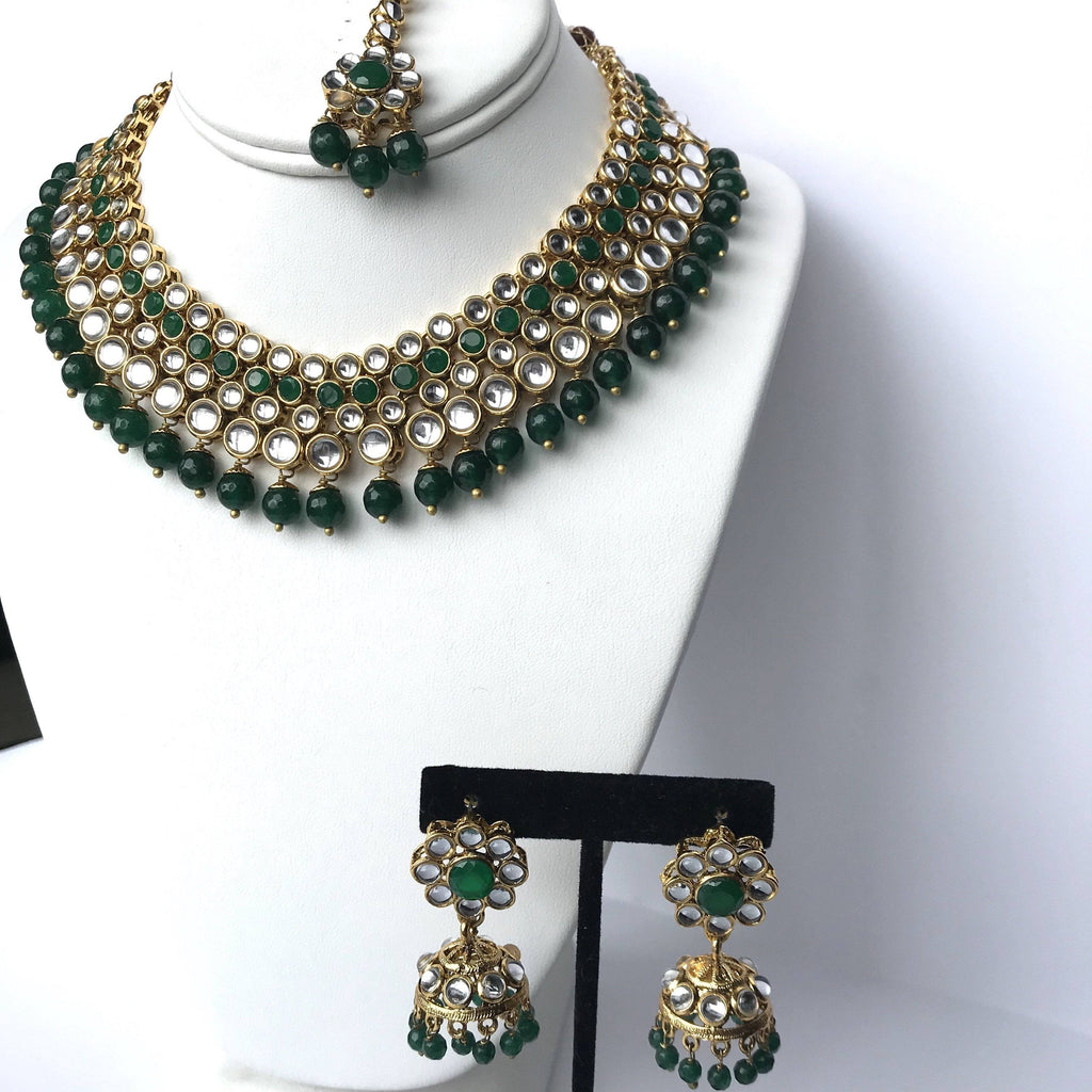 Forest Green, Necklace Sets - THE KUNDAN SHOP