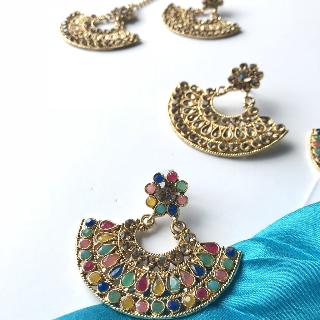 A Little Crazy Set, Earrings + Tikka - THE KUNDAN SHOP