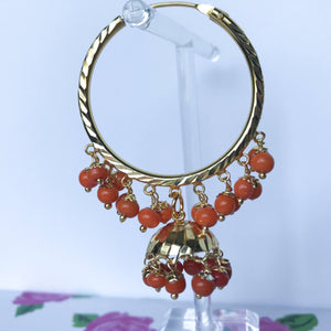 Orange Beads Jumki Baali, Baalis - THE KUNDAN SHOP
