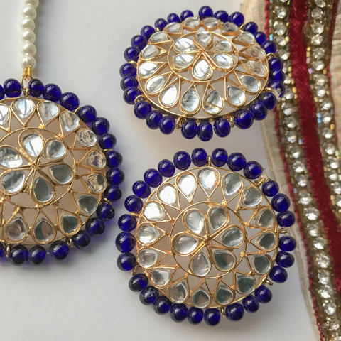 Round Stud Set, Earrings + Tikka - THE KUNDAN SHOP