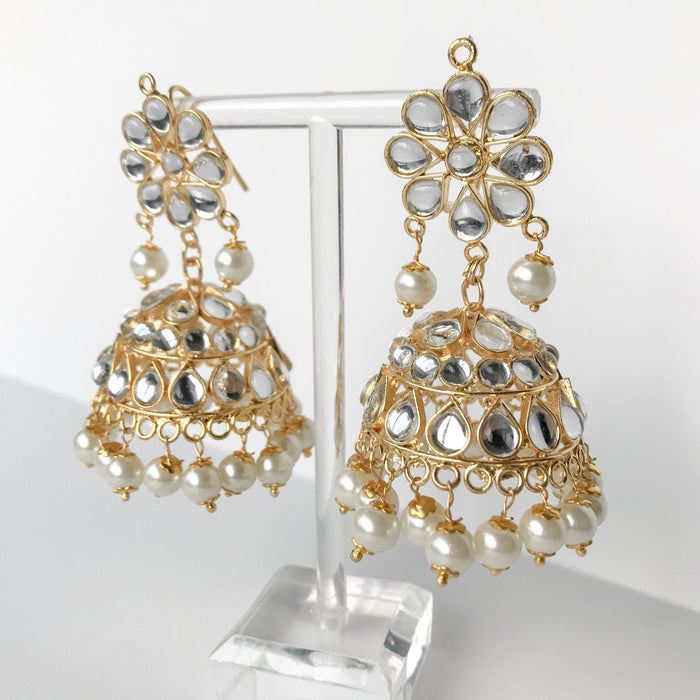 Summer's End Jumki Set - Pearl, Earrings + Tikka - THE KUNDAN SHOP