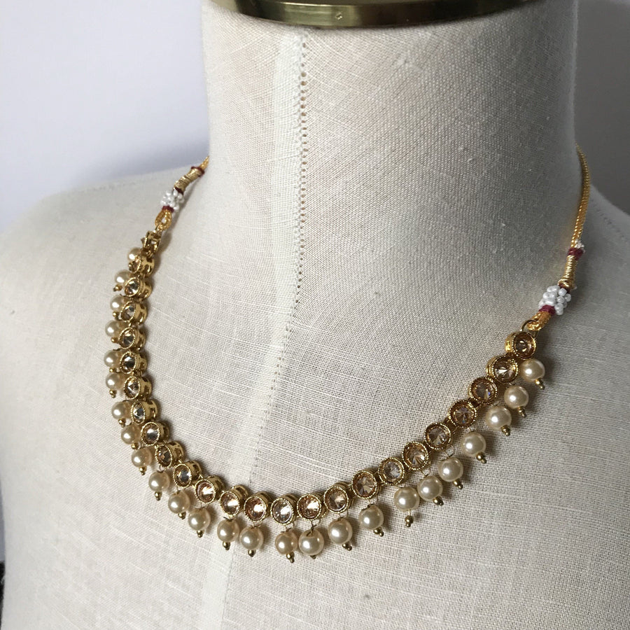 Round Polki & single pearls, Necklace Sets - THE KUNDAN SHOP