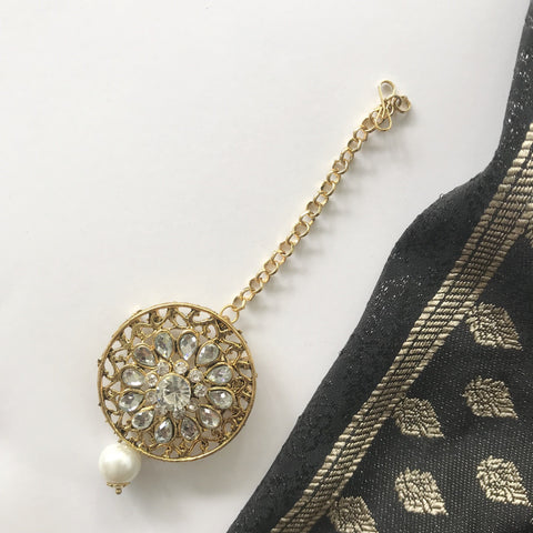 Round Net, Earrings + Tikka - THE KUNDAN SHOP