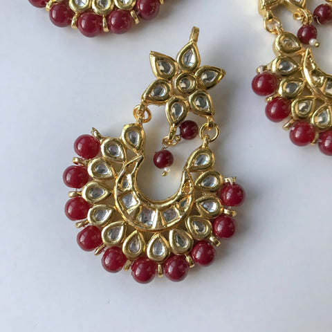 The Stars Align -  Ruby, Earrings + Tikka - THE KUNDAN SHOP