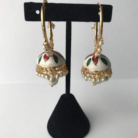 Romantic Red Jumka/Baali, Baalis - THE KUNDAN SHOP