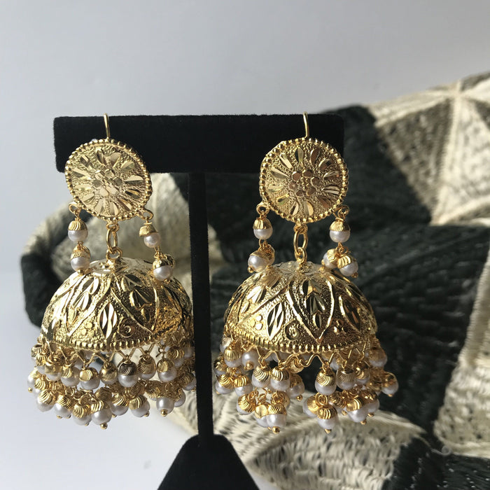 Traditional Jumki Earring & Tikka, Earrings + Tikka - THE KUNDAN SHOP