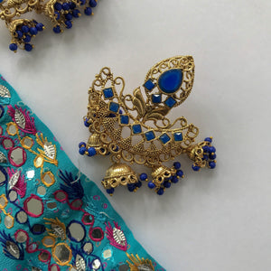 Wild Hanging Jumki Earrings, Earrings + Tikka - THE KUNDAN SHOP