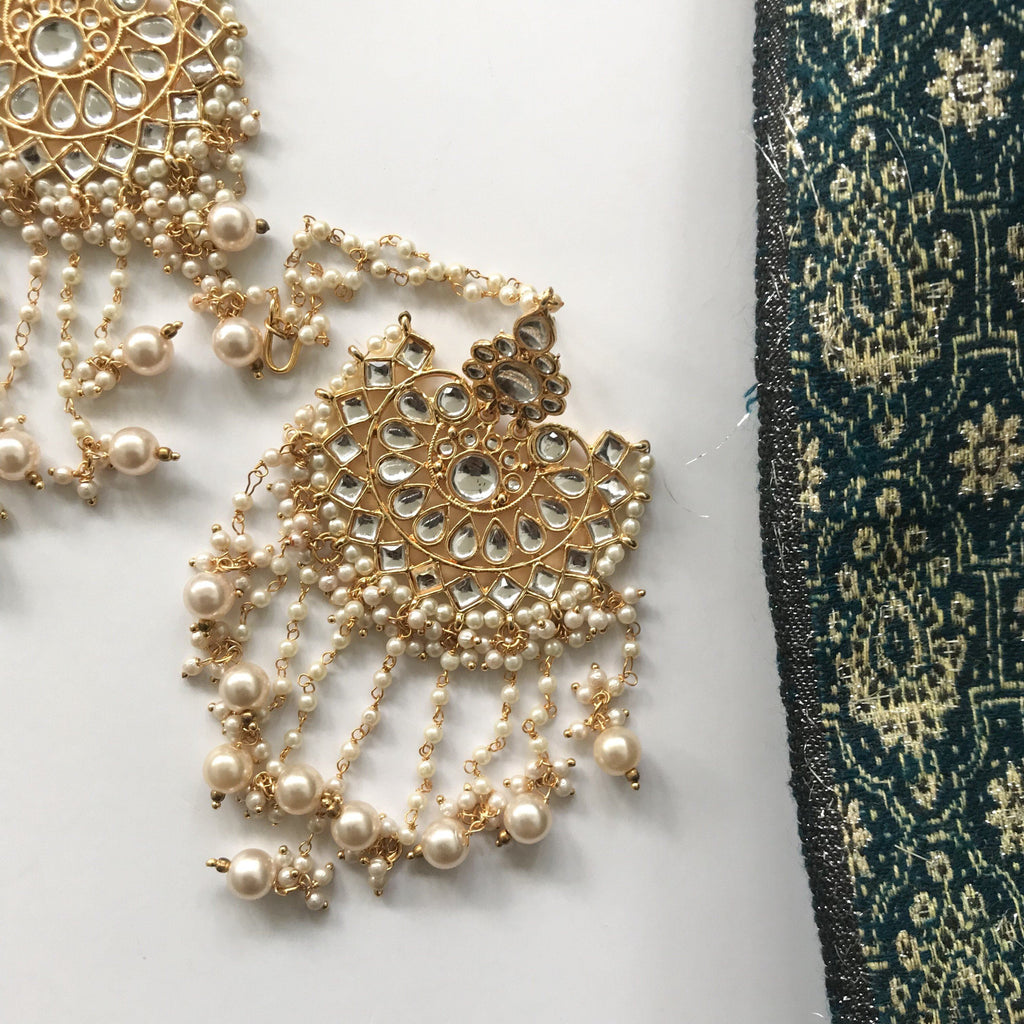 Pearl Oversized Chandelier Earrings, Earrings + Tikka - THE KUNDAN SHOP