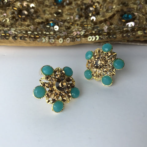 Floral Mini Studs, Earrings + Tikka - THE KUNDAN SHOP
