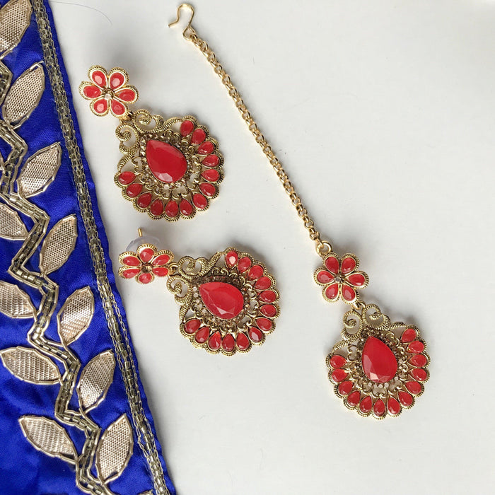 Red Gem, Earrings + Tikka - THE KUNDAN SHOP