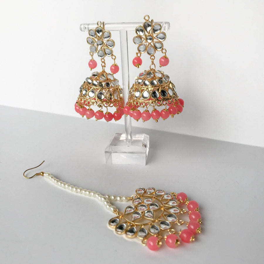 Summer's End Jumki - Hot Pink, Earrings + Tikka - THE KUNDAN SHOP