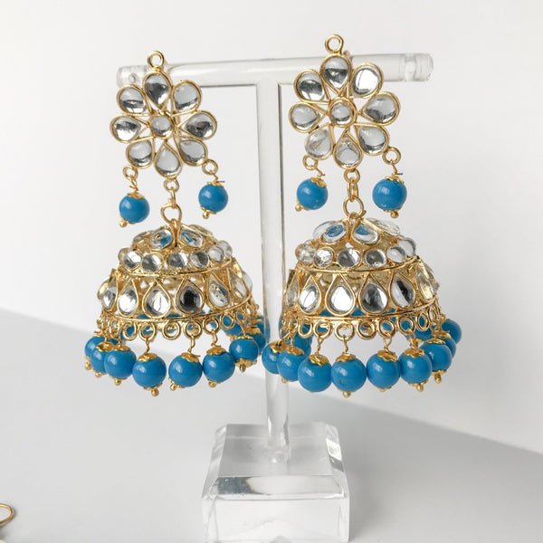 Summer's End Jumki Set - Sky Blue, Earrings + Tikka - THE KUNDAN SHOP