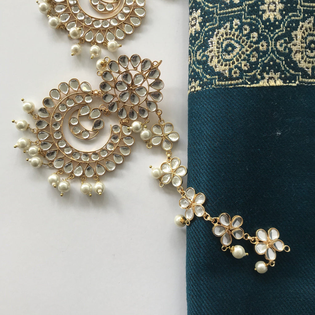 Kundan Set with Ear Chains, Earrings + Tikka - THE KUNDAN SHOP