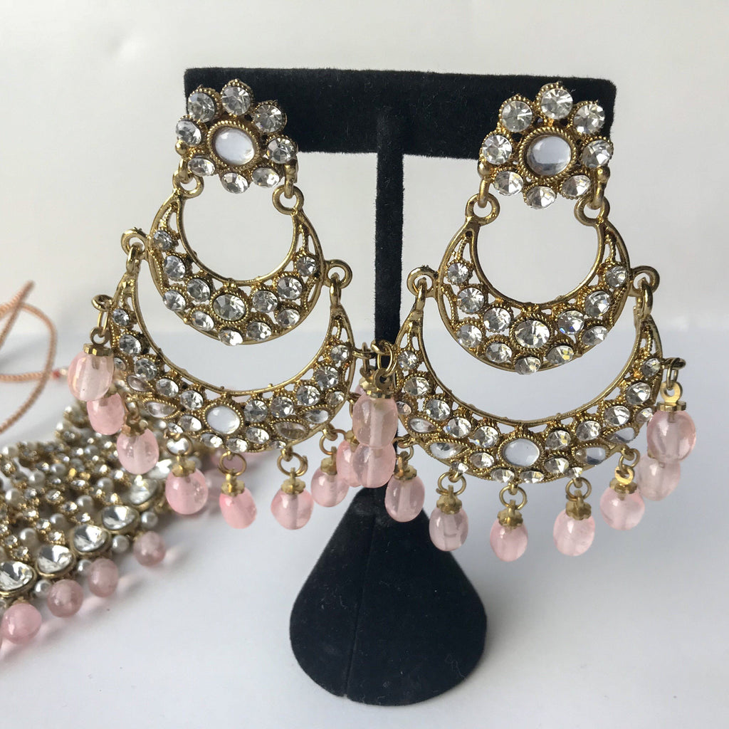 Multi Layer Pastel Pink Stones, Necklace Sets - THE KUNDAN SHOP