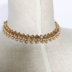 Triple Pearls & Diamond Polki, Necklace Sets - THE KUNDAN SHOP