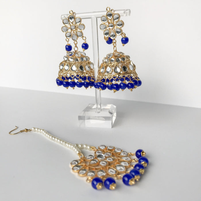 Summer's End Jumki Set, Earrings + Tikka - THE KUNDAN SHOP