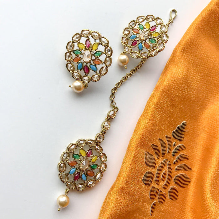 Starburst V.2 Polki Set, Earrings + Tikka - THE KUNDAN SHOP